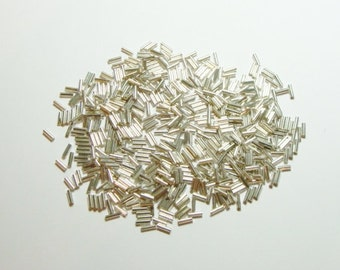 """Silver Glass Bugle Beads-1/4"""" (20grams)(0.075oz) Package"""