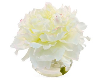 White Peony in Round Vase, Faux