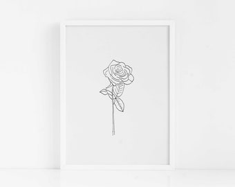 Vintage Rose PRINTABLE Wall Art|Floral Art Print|Home Decor|Gift for Her|Anniversary Gift|Instant Download|Botanical|Tropical Print|Roses