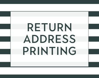 Return Address Printing  Envelopes