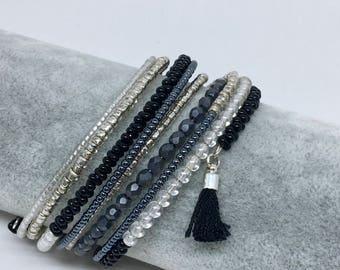 Black Cuff Bracelet memory wire with Pompom