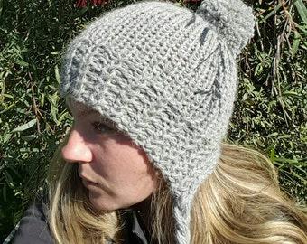 Women's grey hat, women's winter accessories, women's beanie, grey beanie, women's grey slouch hat, women's large pom pom hat, bonnet style