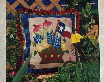 KIT - RARE Kim Gaddy Wool Felt Applique kit Texas Bouquet wildflowers for wall hanging or pillow cover