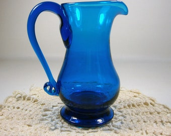 Small Hand Blown Pitcher/Vase, Cobalt Blue Vintage Vase or Small Pitcher,