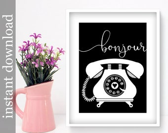 Bonjour Printable, telephone wall art, office wall art, bedroom wall art, vintage phone art, French print, black and white art, phone decor