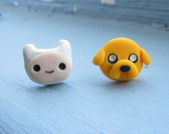 Finn the Human and Jake the Dog Adventure Time Stud Earrings, Polymer Clay