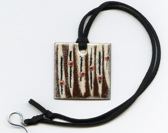 Enameled copper pendant necklace