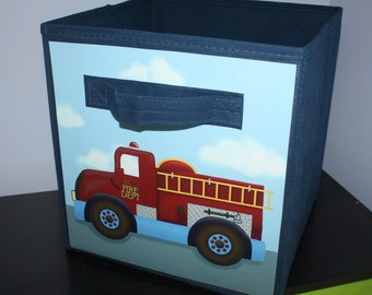 Firetruck Rescue Transportation Fireman Fabric Bin Boy's Personalized Bedroom Baby Nursery Organizer for Toys or Clothing FB0056