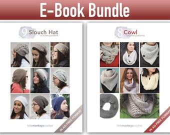 "Crochet Pattern E-Book Bundle: ""9 Slouch Hats"" + ""8 Cowls"" Crochet Patterns in PDF format (crochet patterns, pdfs)"