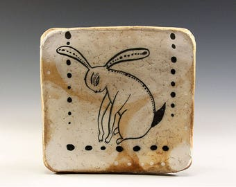 Exquisite Wood Fired Square Plate by Jenny Mendes - Bunny Rabbit