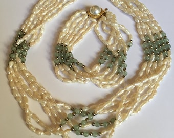 Jade and freshwater pearl set