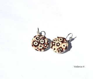 Floral polymer clay cabochon earrings