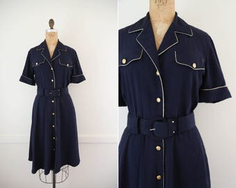 1980's Vintage Navy Blue Button Down Dress with Gold Trim // Short Sleeve Belted Midi Dress with Notched Collar