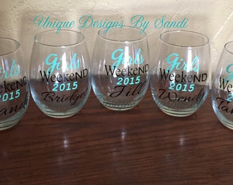 Girls Weekend Wine Glass, Girls Getaway, Customizable Stemless Wine Glasses, Personalized  Stemless Wine Glasses