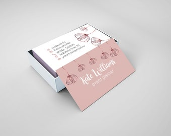 Girly business card etsy floral business card event planner gold pink beauty makeup business card printable digital template colourmoves
