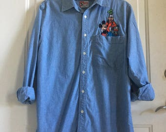 vintage 90s disney embroidered mickey denim chambray button up