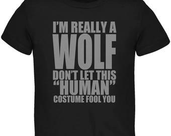 Halloween Human Wolf Costume Black Toddler T-Shirt