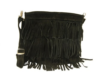 80's Boho Style Suede Fringe Bag (Black)