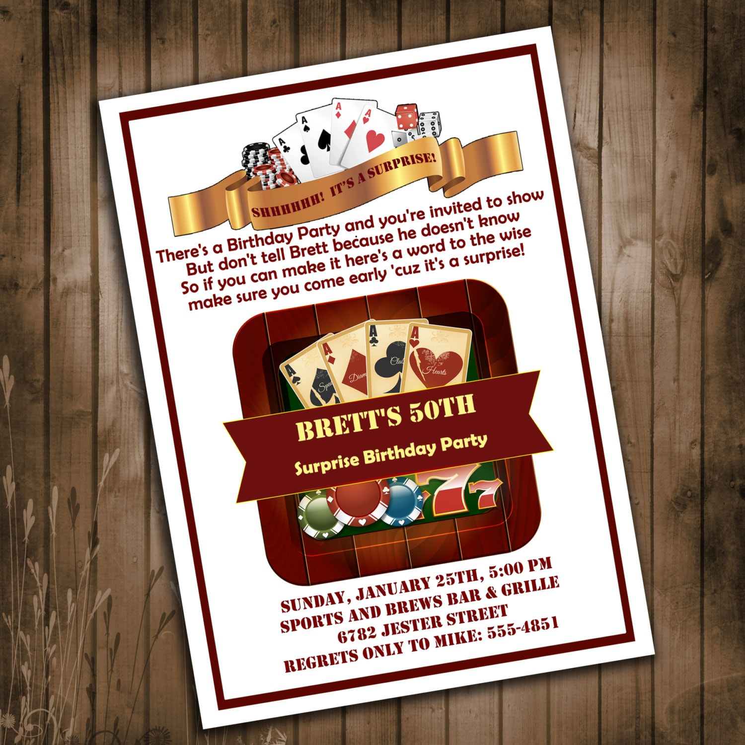 Casino Theme Birthday Party Invitation Surprise Party Man