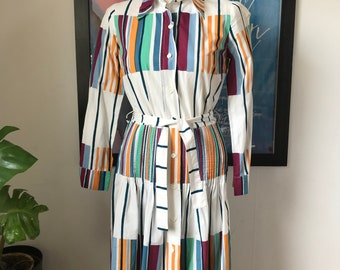 Vintage Marimekko Dress Shirt Dress / Size 38, 10, Small - Medium  / 1973 Finland