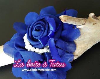 Large fabric flower Royal Blue Royal CHIFFON with Pearl hair headband belt bag hat FMP2 tutu dress accessory diy
