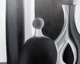 Black and White Vases Still Life