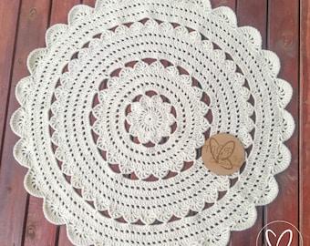 Crochet Floor Rug, Made To Order, Mandala Rug, Decorative Floor Rug, Floor Rug, Decorative Rug, Round Crochet Rug, Nursery Rug, Round Rug