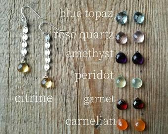 Sterling silver disc link earrings with citrine briolettes or blue topaz rose quartz peridot carnelian garnet amethyst
