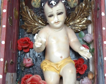 Vintage Mexican Nicho with Baby Jesus Santos, Religious Altar Shrine, Glass Eyes, Milagros, Ex Voto