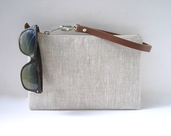 Clutch Purse, Wristlet, Simple Linen Clutch Bag
