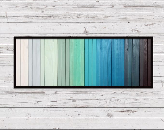 "Lake - Reclaimed Wood Art - 10""x24"" - Wood Art in Teals, Blues, and Black - Modern Wood Wall Art - Wood Paintings, Minimalist Wood Art"