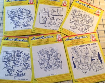 Set of 6 Aunt Martha's Hot IronTransfers, All Days of the Week Theme Transfers, Unopened 1980s