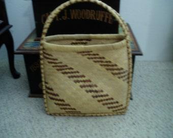 Vintage Unique Basket Weave Tote/Purse