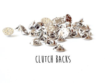 25 pieces - Clutch Backs - Pinch Clutches for Tie Tacks - Mix and Match Findings