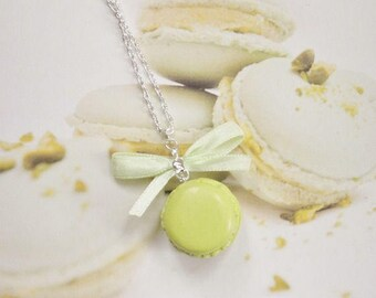 necklace pistachio macaron polymer clay