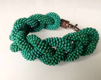 Green Beaded Bracelet Crochet Casual Modern Bracelet Beadwork Bracelet Gift Idea