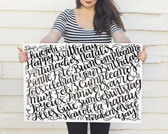 Birthday languages wrapping sheets - Double sided