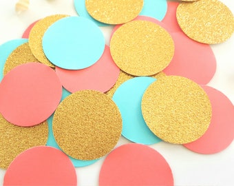 Teal and Coral  Confetti (240pc) Coral and Gold Confetti, Coral and Teal Confetti, Gold and Coral confetti,Peach and Mint confetti,