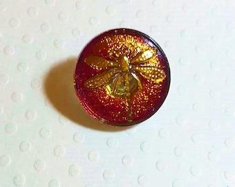 18mm Bohemian Czech Glass Button DragonFly motif, Vitrail, B/143