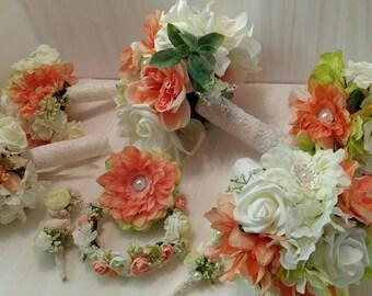 Coral Wedding Bouquet Set, Bridal Bouquet Package
