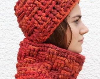 set hat and orange ombre crochet snood