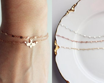 Layering Bracelet - Double Bar Lace Chain Gold Silver Rose Gold Bracelet Bridesmaid Gift Bridal Bracelet Dainty Chain Bracelet Layering
