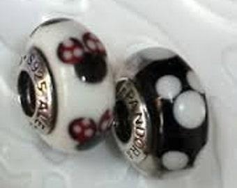 Disney Pandora Charms Mickey and Minnie Classic Murano Glass Bead Christmas Gift Set