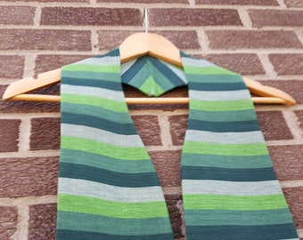 green striped short clergy stole or visitation stole for ordinary time for priest, pastor, chaplain, or minister