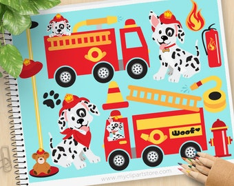 Fire Trucks Clipart, Fire and Rescue Dog, Dalmatian, firefighter, Fire Safety, Fire Engine, Commercial Use, Vector clip art, SVG Files
