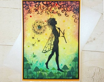Handmade Fairy Card. Framable card, blank card, fairie card, friendship card, thank you card, any occasion card