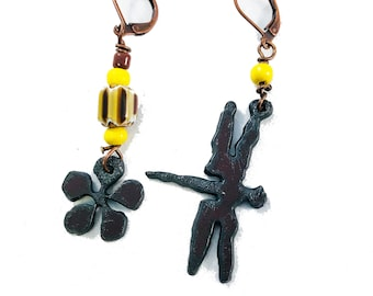 Handmade Earrings, Oxidized Iron, Dragonfly and Flower with Yellow Chevron Glass Beads