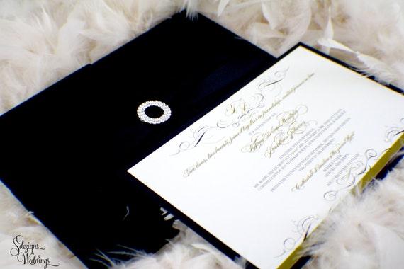 Fabric Wedding Invitations: Elegant Hardcover Fabric Folio Wedding Invitation