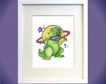 Reptar Watercolor Print - 90s Nostalgia, Rugrats, Nickelodeon Fan Art, Dinosaurs, Nursery art, fan girl, Saturn, Space, Chuckie, 90s cartoon