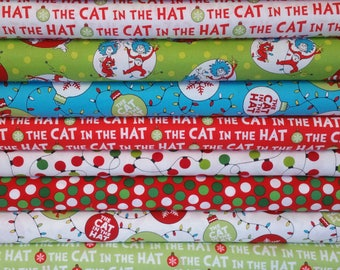 The Cat In The Hat Christmas Bundle from Robert Kaufman - Dr Seuss Fabric - 9 Fabrics - See Notes